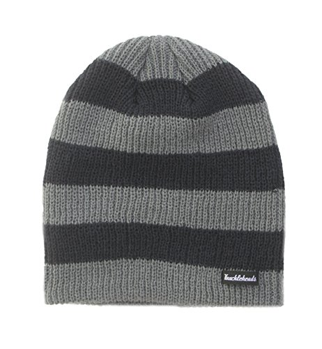 - Born to Love Slouchy Beanie Knuckleheads Hats - Navy - Gray with Stripes (L, Navy/Grey Stripe)