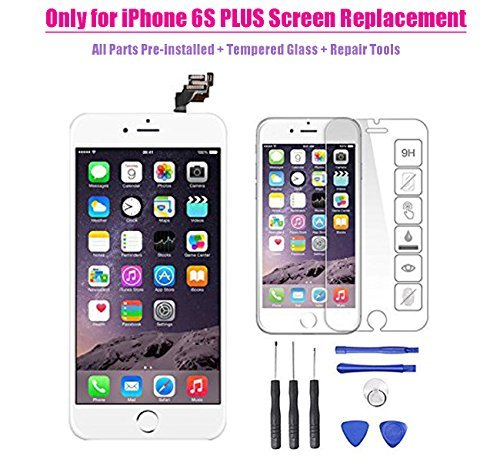 Lcd Touch Panel Phone - Only for iPhone 6S PLUS LCD Screen Touch Digitizer Full assembly Replacement with 3D Touch Panel, Home Button, Front Camera, Ear Speaker, Repair Tools, Not fit for iPhone 6 plus or iPhone 6 (White)