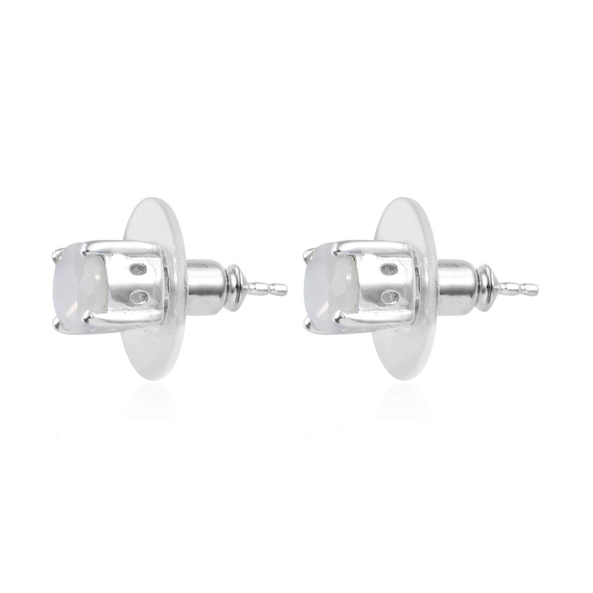 Solitaire Earrings 925 Sterling Silver Oval White Moonstone Gift Jewelry for Women Cttw 1.7