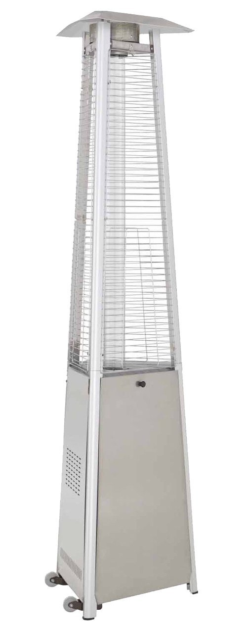 Hiland HLDS01-CGTSS Commercial Pyramid Glass Tube Propane Patio Heater w/Wheels, 42,0000 BTU, 33'' Heat Shield, Stainless Steel by Hiland