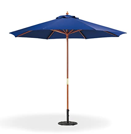 Beau 9 Ft Navy Blue Patio Umbrella   Outdoor Wood Market Umbrella Product SKU:  UB58022