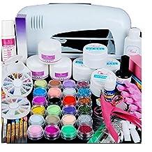 Nail Art Tools Kit Set, 9W UV White Dryer lamp, Kingfansion 24 color Acrylic Powder Nail Art Kit Gel Tools