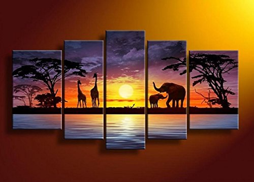 Arts World Hand-Painted 5 Piece Abstract Oil Paintings On Ca