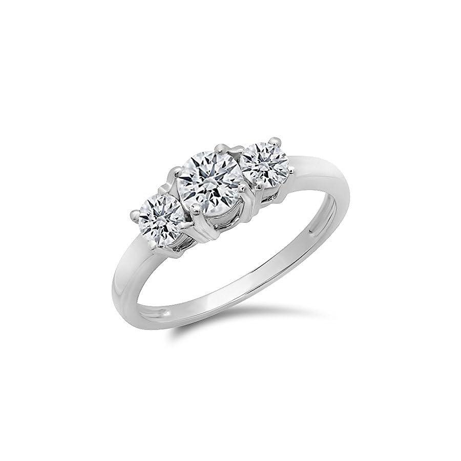 Dazzlingrock Collection IGI CERTIFIED 1.02 Carat (ctw) 14K White Gold Round Diamond Ladies 3 Stone Bridal Engagement Ring 1 CT