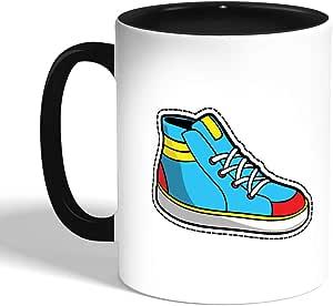 كوب سيراميك للقهوة، اسود، بتصميم حذاء ملون