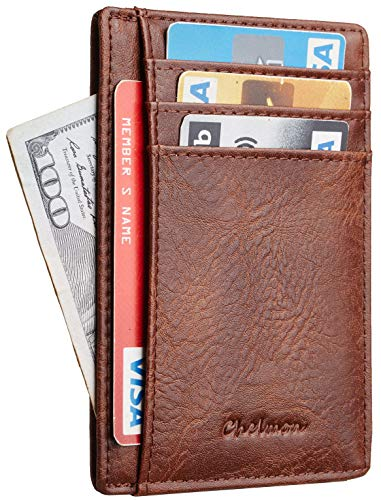 Chelmon Slim Wallet RFID Front Pocket Wallet Minimalist Secure Thin Credit Card Holder (Torn Brown)
