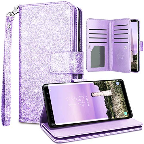 Fingic Note 9 Case,Samsung Note 9 Wallet Case,Glitter Wallet Case Nickel Plated Press Stud[Cash Holder][Wrist Strap][Magnetic Snap Closure]Protective Cover for Galaxy Note 9 2018 Release(6.4),Purple