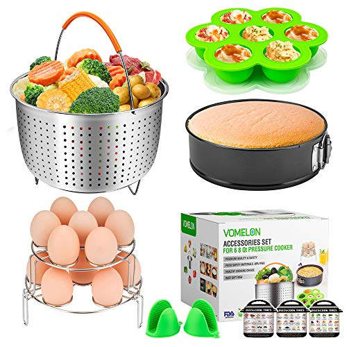 Cooking Accessories for Instant Pot 6,8 Qt, 10-Piece Instant Pot Steamer Basket,Silicone Egg Bites Mold,7