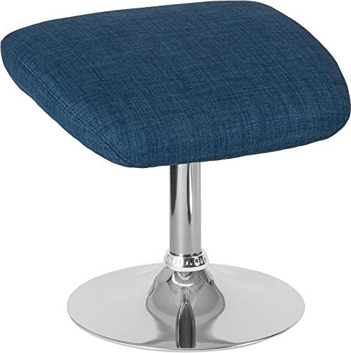 Emma Oliver Blue Fabric Ottoman Footrest with Chrome Base