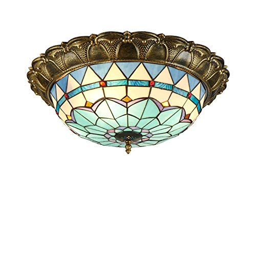 XNCH Tiffany Style Ceiling lamp LED Ceiling lightMediterranean Style Stained Glass Chandelier into The Living Room Dining Room Bedroom Pendant lamp 400/520(mm)