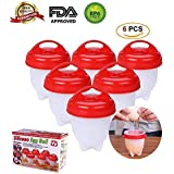 Nonstick Silicone Egg Cooker - Hard Boiled Eggs without the Shell,Hard&Soft Maker, BPA Free, Boiled, Steamer, Poached (6 Pack)