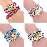 CdyBox Fashion Women Lady Analog Quartz Watch Bracelet Winding Wrap Girls Wristwatches (4 Pack)