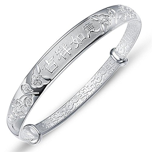 Merdia 999 Sterling Sliver Bracelet Adjustable Chinese Style Lucky with a Free Gift Box (20G)