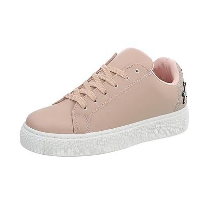 Ital-Design Sneakers Low Damen-Schuhe Schnürsenkel Freizeitschuhe Altrosa, Gr 36, 88036-