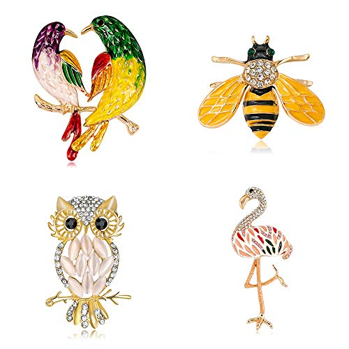 Ezing 4Pcs Brooch Lot with Rhinestone Crystal Enamel Small Bee Big Owl Bird Pins Fashion Jewelry (j)