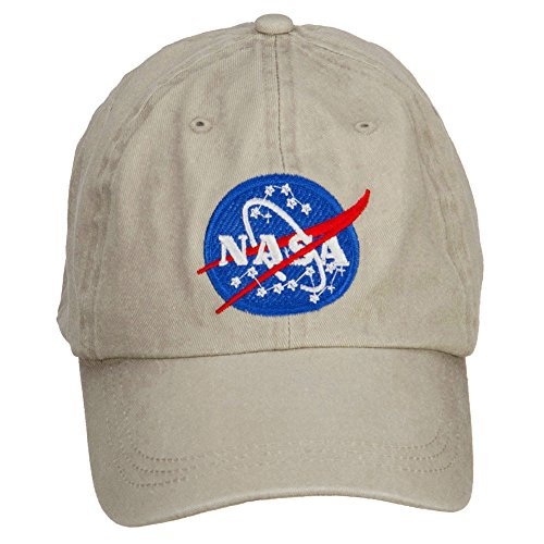 - e4Hats.com NASA Insignia Embroidered Washed Cap - Beige OSFM
