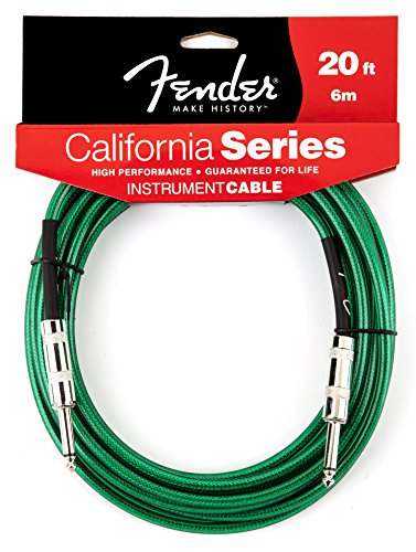 Fender California Series Instrument Cable for electric guitar, bass guitar, electric mandolin, pro audio