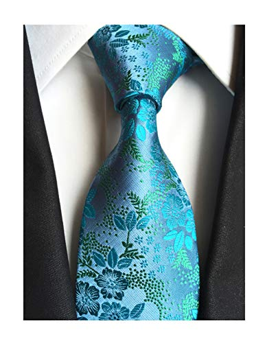 Mens Teal Blue Ties Floral Fashion Woven Silk Paisley Party Formal Necktie ()