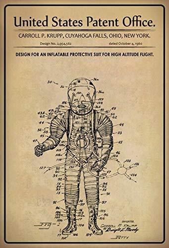 Jeremy Mann EE.UU. Patent Pilotenanzug Piloto Suit 1960 Metal Custom Metal Sign 12X8in-Bar Cafe Restaurant Home Decor