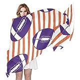 American College Football Purple Orange Women's Shawls and Wraps for Evening Dresses Wedding Shawl Wrap Fringes Silk Like Scarf Fashion Scarves