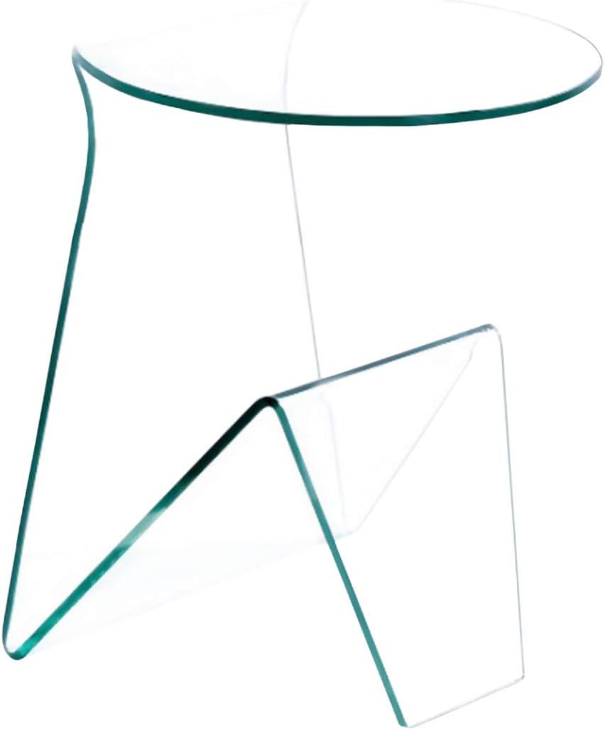 46 x 40 x 55 Cm Arreditaly Tavolino Basso Tondo Salotto Soggiorno Sala da Pranzo Tavolo da caff/è Rotondo in Vetro Temperato Curvato con Vano Portariviste Design Moderno Elegante Luxury Z-34