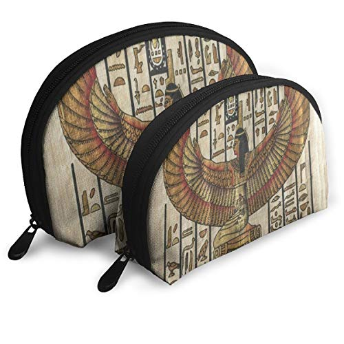 Makeup Bag Ancient Egyptian Parchment Portable Shell Makeup Case For Women Halloween Gift Pack - -