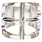 ACCESSORIESFOREVER Trendy Square Shaped Hollow Design Statement Fashion Size 8 Ring R215 Silver