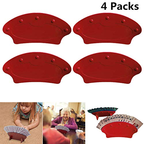 2Packs/ 4Packs Hands Free Playing Card Holders, Standing Plastic Tray Racks Organizer, Iuhan Adult/Childrens Accessory for Family Card Game Nights, Poker Parties, and Trading Card Games (4Packs, Red)