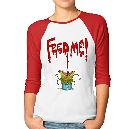 [Female Little Shop Of Horrors Feed Me 3/4 Contrast Raglan Sleeve Tee] (90s Comic Costumes)