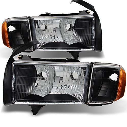 For 99-01 Dodge Ram 1500 Pickup Truck Sport Package Black Headlights Head Lamps Replacement Pair Set