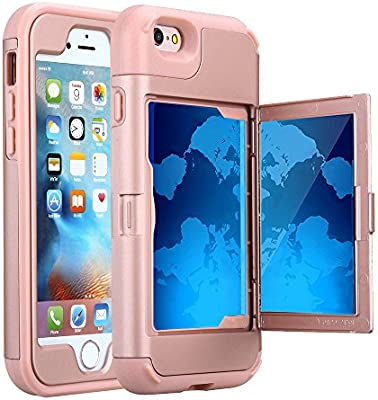 buy popular b9f0d 60875 iPhone 6S Plus Case, Hidden Door Slim Wallet Case, Fits 2 Cards and Cash,  Reinforced Drop Bumper Protection, Mirror, Front Frame Screen Protection  for ...
