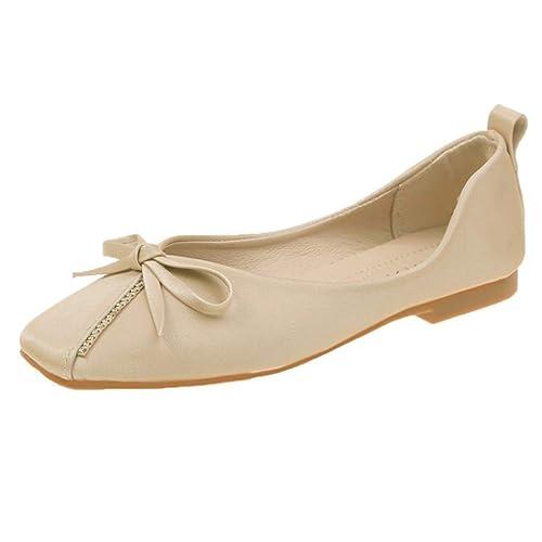 Mocasines De Mujer Mocasines Zapatos De Cuero Suave Zapatillas De Ballet Zapatillas De Vestir De Oficina con Cordones Ocasionales Zapatos De Vestir De Moda para Caminar