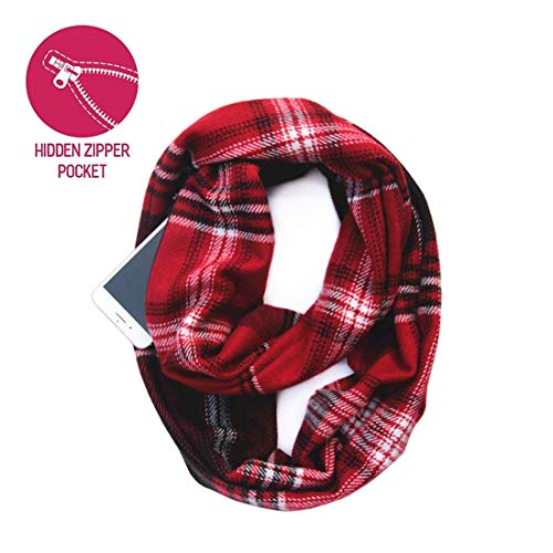 (Lucky Leaf Women Winter Checked Pattern Cashmere Feel Warm Plaid Infinity Scarf (Z-Red))