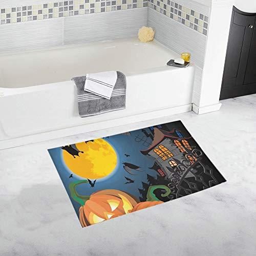 Pumpkin Halloween Card Bat Old House Custom Non-Slip Bath Mat Rug Bath Doormat Floor Rug for Bathroom 20 X 32 Inch