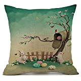 Geetobby Happy Easter Gift Cute Bunny Rabbit Flower Eggs Basket Linen Throw Pillow Case Home Decor