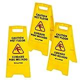 Alpine Industries 24'' Caution Wet Floor Sign Yellow - 3 Pack
