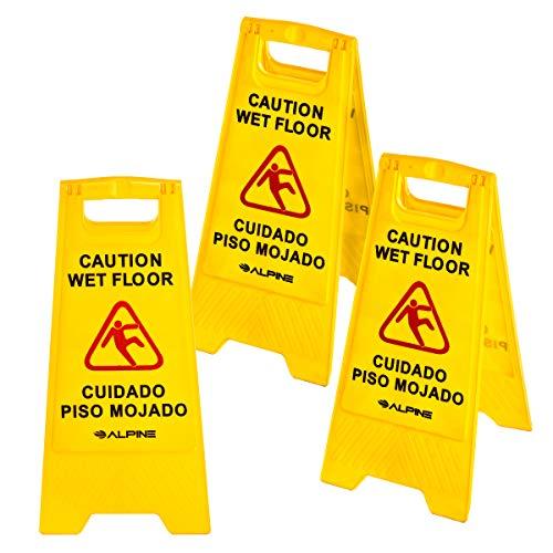 """Alpine Industries 24"""" Caution Wet Floor Sign Yellow - 3 Pack"""