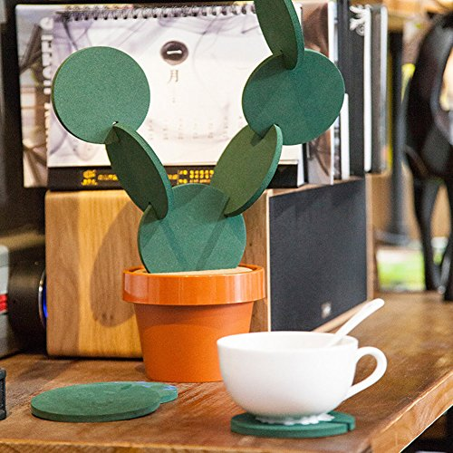 Cactus Coasters Set of 6 with Pot Shaped Holder, Prevents Table Damage and Spill, Gift ideal for Home and Office by Miragee (Image #1)