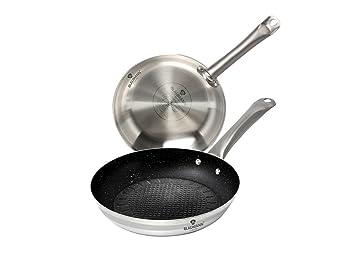Blaumann Juego de 2 sartenes profesionales de chef de 20 cm y 26 cm de acero