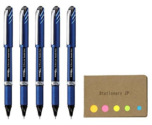 Pentel Energel Euro Ballpoint Pen, Micro Fine Point 0.35mm Needle Tip, Black Ink, Blue Body, 5-pack, Sticky Notes Value Set ()