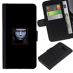 Paccase / Billetera de Cuero Caso del tirón Titular de la tarjeta Carcasa Funda para - Face Abstract - Samsung Galaxy S6 SM-G920