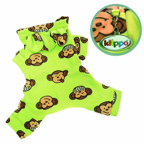 Adorable Silly Monkey Fleece Dog Pajamas / Bodysuit with Hood Size: Medium, Color: Lime, My Pet Supplies