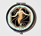 Art Deco Flapper Compact Mirror 1920's Jazz Age Roaring 20s Make Up Pocket Mirror for Cosmetics