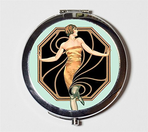Art Deco Flapper Compact Mirror 1920's Jazz Age Roaring 20s Make Up Pocket Mirror for Cosmetics by Fringe Pop