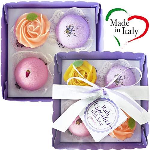 BATH CUPCAKES Bath Bombs Gift Set ITALIAN MADE Fizzes Dry Skin Moisturizer Spa Bath Handmade Birthday Mothers day Gifts idea wife girlfriend (FLOWERS, package 4 cupcakes (4 bath bombs + 2 soaps))