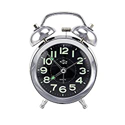 DGQ 3 Twin Bell Alarm Super Silent Metal Classic Retro Style Clock Glow-in-The-Dark Hands & Large Display Number Desk Clock,Great for Heavy Sleepers and Treval