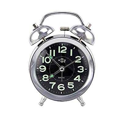 "DGQ 3"" Twin Bell Alarm Super Silent Metal Classic Retro Style Clock Glow-in-The-Dark Hands & Large Display Number Desk Clock,Great for Heavy Sleepers and Treval - DGQ Super quiet concise design alarm clock, give you a silent sleep time. It's perfect for your desk, bedside, and very portable for camping or traveling Super loud bell rings for heavy sleepers, no snooze button, wellmade wake up clock for people who has trouble waking up. Nightlight & Glow-in-the-dark Hands and Numbers design, press the light button, time will be clearly visible at night. Luminous hands & numbers stay visible a while after the lights are turned off at night for night viewing. - clocks, bedroom-decor, bedroom - 51N2OvISCCL. SS400  -"