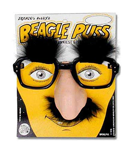 (Beagle Puss - Classic Groucho Marx Glasses with Nose and Mustache.)