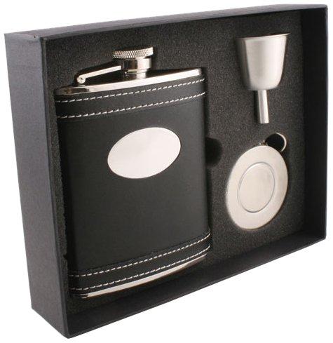 VisolMarlon Leather Stellar Flask Gift Set 6-Ounce Black