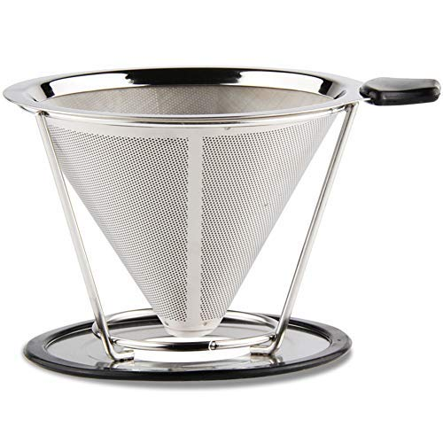 Coffee Pour Over Urn (Coffee Pour Over Filter Paperless Brewer Stainless Steel Dripper Cone Reusable Eco-Friendly for Coffee Carafe & Mug Sets Hario v60)